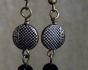 Asian flare earrings, oxidized brass and Czech glass