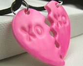 RESERVED for AfricanQueen99 Bubble Gum Pink BFF Polymer Clay Pendant Necklaces
