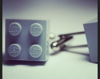 Made from Lego (r) Cool Grey Gray Cufflinks