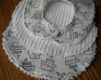 Flannel Burp Cloth and Bib with Chenille Back, White and Navy, Ships, ready to ship