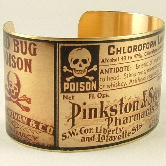 Steampunk Brass Cuff Bracelet with Poison and Deadly Labels