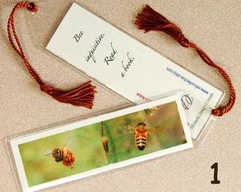 Bee Mini Art Bookmark with Tassel - Small, Honey Bee Bookmark, Nature Bookmark, Photographic Art Bookmark, Pollinator Bookmark, Teacher Gift