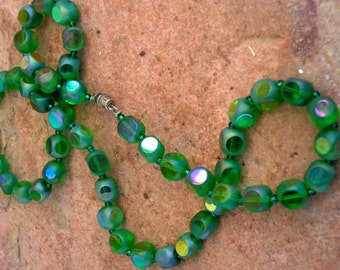 Vintage Czech Glass Bead Necklace Green Iridescent Beads Faceted Beaded Necklace