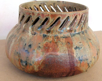 MCM Stoneware Art Pottery Bowl Signed GERD Ceramic Pot Vessel with Cut Outs 1977