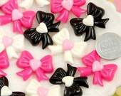25mm Cute Heart Ribbon Bow Resin Cabochons - 9 pc set