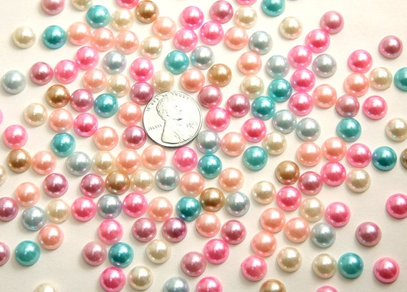 Flatback Resin Cabochons - 8mm Pearl Mixed Flatback Cabochons - 100 pc set