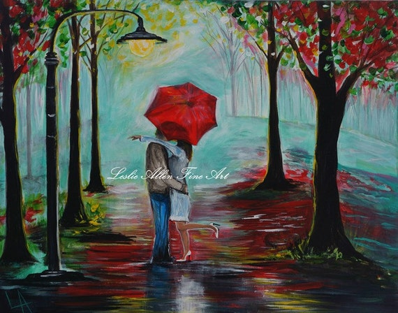 couple in love couples acrylic original painting kissing