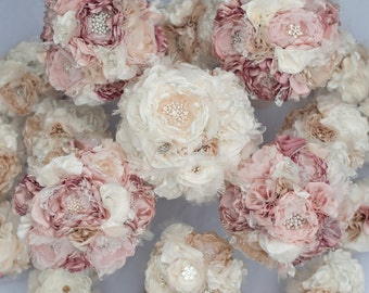 Brooch Bouquet, Fabric Flower Wedding Bouquet, vintage style lace, rhinestone and pearl brooches Custom bouquet dusty pink, champagne, ivory