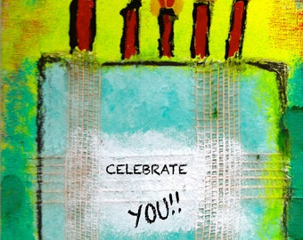 """Celebrate YOU - 5""""x7"""" Greeting Card with Envelope (Blank Inside), Birthday Stationery, Gender Neutral Birthday Card, Blank Note Card"""