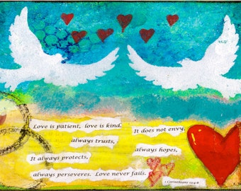 """Love is Patient 5""""x7"""" Blank Greeting Card with Envelope, Wedding Stationery, Bridal Shower Card, Wholesale Greeting Cards, Bible Verse Card"""
