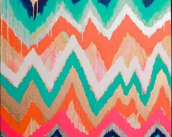 Smitten Too Original ikat chevron 36x48 Painting by Jennifer Moreman