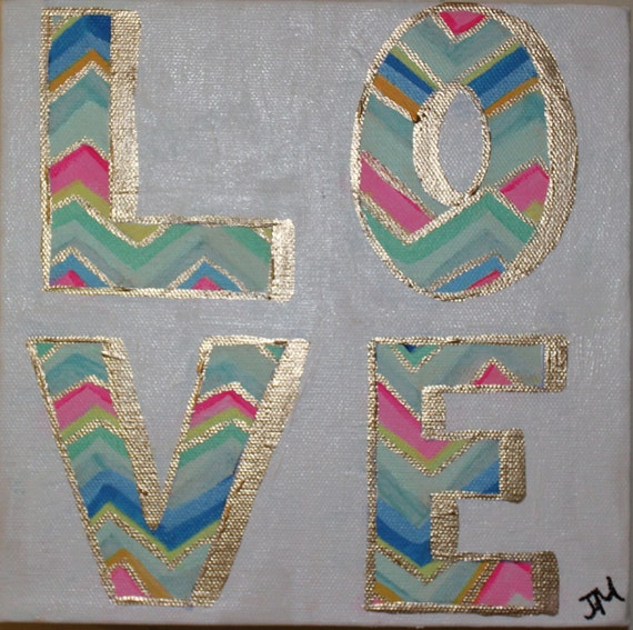Original Painting 8x8 LOVE by Jennifer Moreman