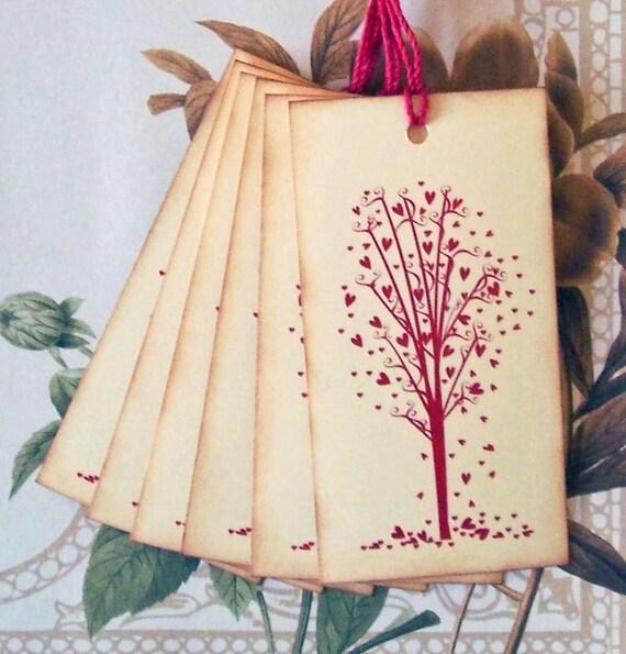 Tags Wedding Wish Tree Valentine Party Favor Treat Bag Tag Love Heart Vintage Style Handmade TL005