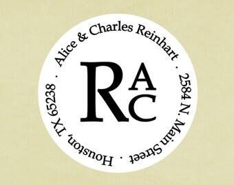 Return address labels, stickers, tags, envelope seals, round--Stacked monogram