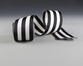 "1.5"" Wide Grosgrain Ribbon Black and White Stripes"