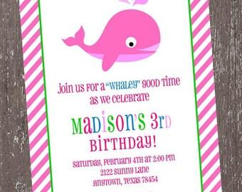 Pink Whale Birthday Invitations