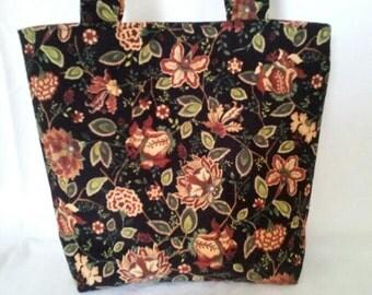 10% OFF SALE!  Black Gold Floral Corduroy Medium Bag