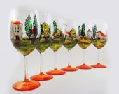 Hand painted glasses - Set of 6 white wine glasses  - Village Provencal collection