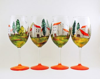 Hand painted glasses - Set of 4 white wine glasses  - Village Provencal collection