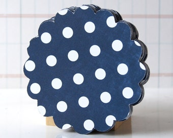 20 Navy Blue Polka Dot Round Scallop Tags for DIY Favor Tags or Cupcake Toppers . 2.5 inch . Available in 20 Colors