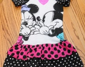 Upcycled Minnie tshirt dress t shirt Knit dress Size 5 6 Ready To Ship Great For you Disney Vacation