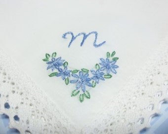 Something blue wedding handkerchief, bouquet wrap, hand embroidered, monogrammed, wedding gift, shower gift, wedding colors welcome