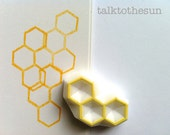 beehive stamp. hexagon pattern stamp. honey comb stamp. geometric hand carved rubber stamp. card making. scrapbooking. gift wrapping
