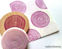 spiral circles stamp. geometric hand carved rubber stamp. birthday wedding gift wrapping. diy scrapbooking. mounted stamps by talktothesun