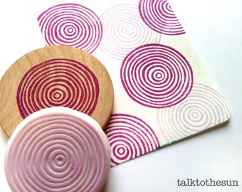 spiral circles stamp. geometric circle hand carved rubber stamp. birthday wedding scrapbooking. diy holiday gift wrapping. choose option