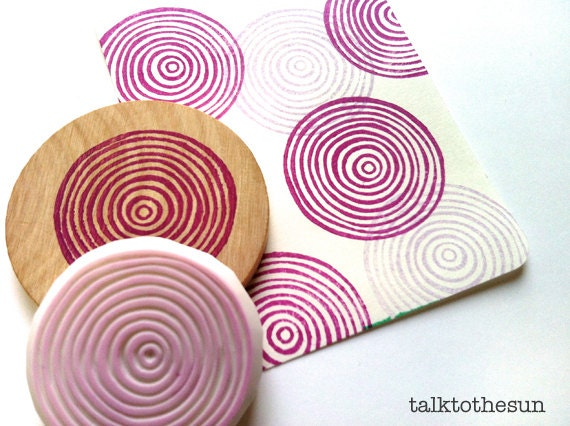 Spiral circles stamp geometric circle hand carved rubber