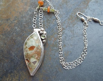 Rainforest Jasper and Peridot Sterling Silver Necklace