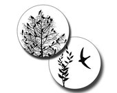 Nature in Black and White - 2 inch circles - (3) Digital collage sheets