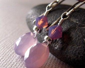Lilac Chalcedony Earrings, Swarovski Crystal, Dangle Earrings, Drop, Sterling Silver