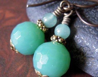 Gemstone Earrings, Green Adventurine Earrings, Aqua Earrings, Antiqued Brass, Faceted Adventurine, Wire Wrapped