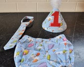 Oh the places you'll go dr Suess Birthday party set tie hat and diaper cover