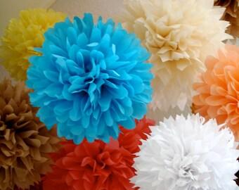 CUSTOM COLORS / 15 tissue paper pom poms / custom wedding decorations / diy  / birthday party poms / graduation party decor / pompoms