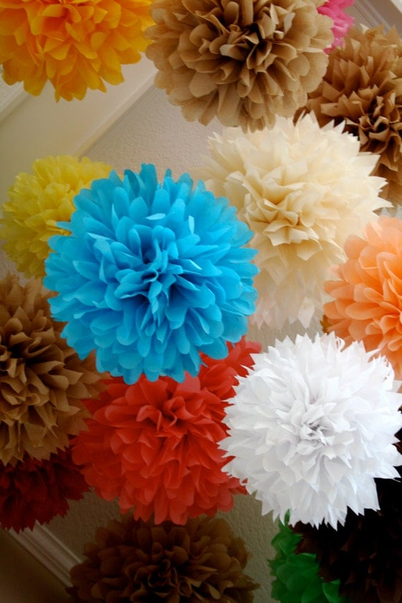 CUSTOM COLORS / 15 tissue paper pom poms / custom wedding decorations / diy  / birthday party poms / graduation party decor / pompoms