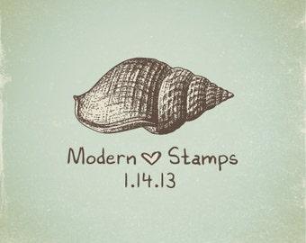 Wedding Stamp   Custom Wedding Stamp   Custom Rubber Stamp   Custom Stamp   Personalized Stamp   Vintage   Sea Shell Stamp   V12