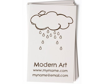 Business Card Stamp - Custom Stamp - Custom Rubber Stamp - Personalized Stamp - Cloud, Rain - BC52