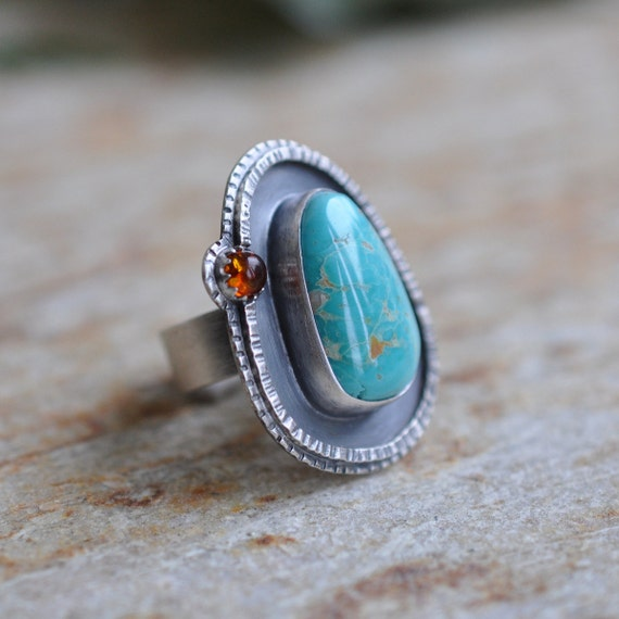 xX SALE Xx Turquoise Ring with Amber in Oxidized Sterling Silver