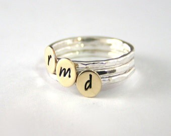 Gold Stack Rings,Custom Stack Rings,Personalized Ring,Brass Ring, Initial Ring,Sterling Silver And Brass Rings,Sterling Silver, Set Of Three