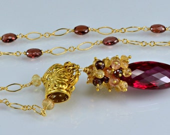 Red Topaz Gemstone Necklace Imperial Topaz Garnet 14k Gold Filled Wire Wrapped Necklace, Crimson Abyss