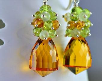 Citrine Sterling Silver Dangle Earrings Peridot Prehnite Sterling Silver Wire Wrapped Gemstone Earrings