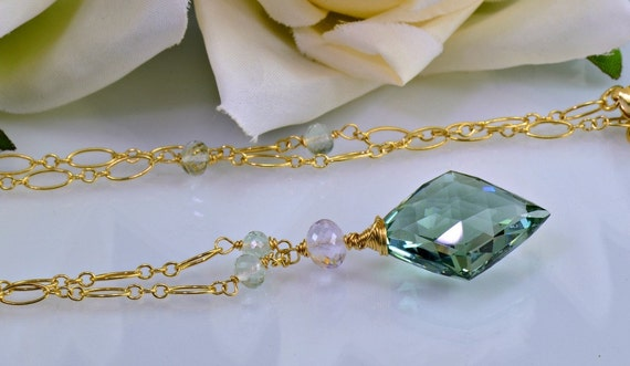 SALE-Green Amethyst  Gemstone Necklace, 14 Gold Filled Wire Wrapped Necklace