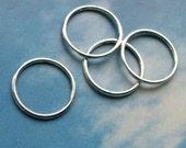 10 big closed rings, silver tone, 24mm