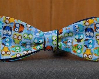 Technicolored Fun Owl  Bow Tie