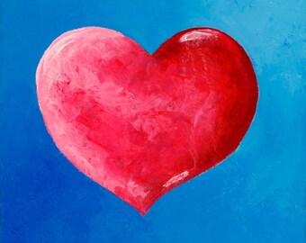 Original Fine Art Painting - Pink Heart Blue Background - Infinite Love - Infinity
