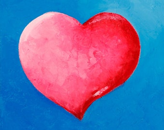 Original Fine Art Painting on Canvas - Hot Pink Heart, Blue Teal Background - Infinite Love