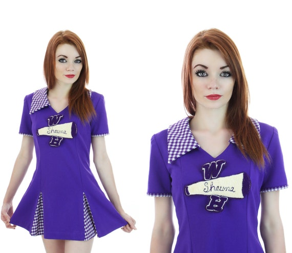 Mod Cheerleader Uniform 60s Micro Mini Dress Outfit Sixties Purple Pleated Skirt Cosplay Sexy 1960s 70s Tennis Go-Go Retro S M Small Medium