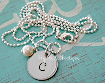Personalized Hand Stamped Initial Necklace with Ivory Swarovski Pearl Charm